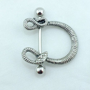 2PCS Trendy U Shape Snake Design Nipple/Navel Ring Stainless Steel Straight Bar Fashion Piercing Body Jewellery