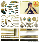 Metallic Jewellery Temporary Tattoos All-In-One Package 5 Sheets