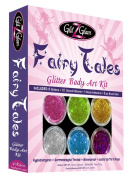 Fairy Tales Glitter Tattoo Kit with 6 Large Glitters & 12 Amazing Stencils - Temporary Tattoos & Body Art