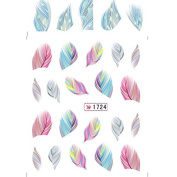 ZGY Fashion Cute Feather Nail Water Decals Art Transfer Stickers Nail DIY Decoration