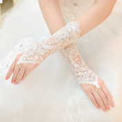 Exquisite Fingerless Rhinestone & Sequins Bridal Lace Gloves