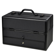 Pro Professional Aluminium ABS Hair Stylist Barber Cosmetic Makeup Drawer Train Case With Key Lock Black