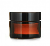 Moyishi Glass 60ml Amber Salve Jar w/ Black Lid 4 pk Thick Jar