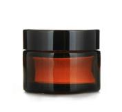 Moyishi Glass 60ml Amber Salve Jar w/ Black Lid 4 pk Thick Jar