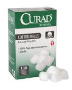 Curad Sterile Cotton Balls, 2.5cm , 130 Count