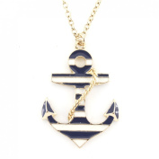 Exquisite Gold Tone Marine Theme Anchor Pendant Necklace