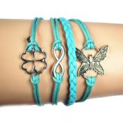 Lowpricenice(TM) Women Girl Butterfly Flowers Friendship Leather Charm Weave Bracelet blue