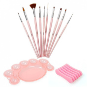 BMC 12 pc Nail Art Beauty Design Polish Brush Dotting Tool Palette Colour Mixing Dish Holder Manicure Set