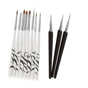 Mefeir 8pcs Nail Art Design Detailing Drawing Paint Painting Brushes Dotting Pen Set Kit White + 3pcs Nail Art Tool Crystal Glass Dotting Pen Black