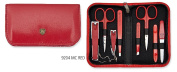 THREE SWORDS • Exclusive 8-Piece Manicure, Pedicure and Grooming set • Synthetic leather red • basic-standard quality