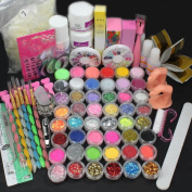 US Seller USPS Shipping! 28in1 Combo Set Professional Acrylic Liquid Nail Art Brush Pen Glue Glitter Strip Shimmering Powder Hexagon Slice Toe Finger Separator Buffer Block Deco Tips Tool Kit