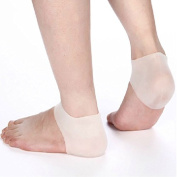1Pair Heel Unisex White Silicone Gel Heel Soft Socks Dry Hard Cracked Skin Moisturising Protector Insoles Foot Feet Care