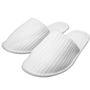 Spa & Hotel Waffle Closed Toe Slippers,Men and Women,White