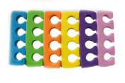 Pedicure Toe Separators - Durable, Soft Foam Divides and Cushions Toes, 6-pk, Assorted Colours
