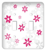 Frozen inspired Snowflakes Double Toggle Switchplate Cover, Fuschia