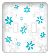 Frozen inspired Snowflakes Double Toggle Switchplate Cover, Blue