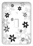 Frozen inspired Snowflakes Single Toggle Switchplate Cover, Black