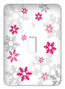 Frozen inspired Snowflakes Single Toggle Switchplate Cover, Fuschia