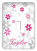 Personalised Frozen inspired Snowflakes Single Toggle Switchplate Cover, Fuschia