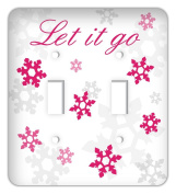 Let It Go Frozen inspired Snowflakes Double Toggle Switchplate Cover, Fuschia