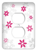 Frozen inspired Snowflakes Standard Outlet Cover, Fuschia