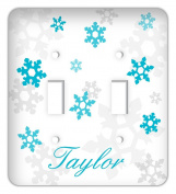 Personalised Frozen inspired Snowflakes Double Toggle Switchplate Cover, Blue