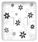 Frozen inspired Snowflakes Double Toggle Switchplate Cover, Black