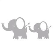 Elephant Vinyl Wall Decal, Momma and Baby, Jungle Safari Decor, Light Grey