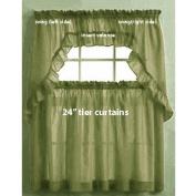 Ellis Curtain Stacey Tailored Tier Pair Curtains, 140cm x 60cm , Sage