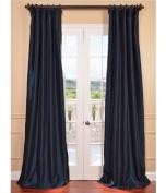 Half Price Drapes PTCH-BO194010-84 Blackout Faux Silk Taffeta Curtain, Navy Blue