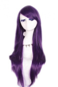 L-email 80cm Long Dark Purple Natural Straight Women Cosplay Halloween Hair Wig