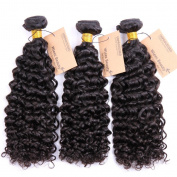 Wleec Beauty 3 Bundles Brazilian Virgin Curly Hair, Grade 5A Natural Colour Virgin Human Hair Extensions Size 41cm 46cm 50cm