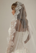 1 Tier Layer Beautiful Cathedral Bridal Wedding Veil with Appliques Edge-V12 White