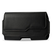 Reiko Horizontal Z Lid Leather Pouch for Samsung Galaxy Note2 Plus - Retail Packaging - Black