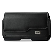 Reiko Horizontal Z Lid Leather Pouch for Samsung Galaxy Note2 Plus with New Design Poly Bag - Retail Packaging - Black