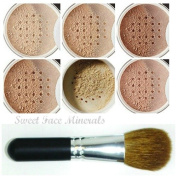 XXL KIT with BRUSH Full Size Mineral Makeup Set Bare Skin Powder Foundation Cover by Sweet Face Minerals