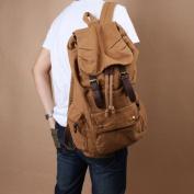 Vktech Vintage Men Women Casual Canvas Backpack Schoolbag Hiking Travel Bag