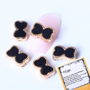 10x3D Nail Art Black Acrylic Bowtie Nail Art Design Decorations Reusable DIY Nail Art Gadgets