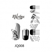 BTArtbox Black & White Musical Note Nail Designed Nail Art Polish Wraps Nail Stickers 1 pc