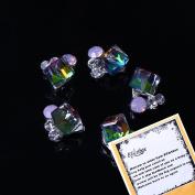 Hot Elegant 10 pcs Bling Bling Rainbow AB Square Crystal 3d Rhinestones Nail Art Decals Nail Tips Stickers