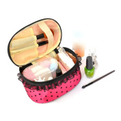 Dot Printing Cosmetic Makeup Handheld Case Bag Storage Pouch+free Mirror Hot Pink