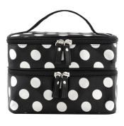 . Black Double Layer White Polka Dot Cosmetic Bags Toiletry Makeup Handbags with 4 Zipper