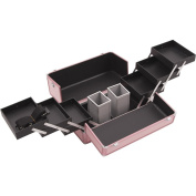 Hiker HK3201 3-Tier Professional Aluminium Case with Accordion Trays and 2 Brush Holders, 38cm , Smooth Pattern, Pink