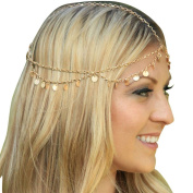 Suppion Fashion Chain Headband Head Shiny Piece Hair Band Tassels Gold