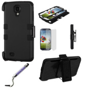Premium New Samsung S4 Holster Combo Dual Layer Phone Protective Case Cover w/ Standed Black, Crystal Stylus Pen, Screen Protector