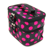 DuaFire Cosmetic Bag Double Layer Dot Pattern Travel Toiletry Bag Organiser With Mirror