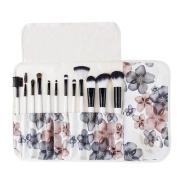 Professional 12 Pcs Makeup Cosmetics Brushes Set Kits with Flower (Black Flower) Pattern Case