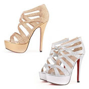 New Elegant Rome Shoes Platform Openwork Lady High Heels Ankle Sandals Gold US7 apricot Shoes