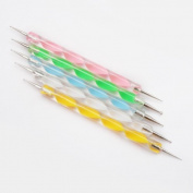 WAWO 5 x Nail Art Tool 2-Way Dotting Painting Marbleizing Pen