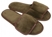 Terry Nylon Fabric Fastening Open Toe Unisex Slippers Dark Chocolate